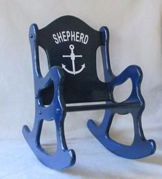 Rocking Chair  Nautical Theme by weaverwood on Etsy