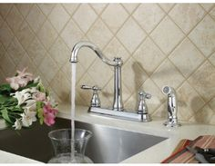 Ainsley kitchen faucet with matching side spray in Polished Chrome. By Pfister
