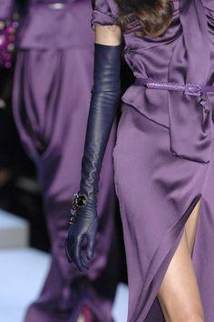 "johngallianolesincroyables: "" John Galliano for Christian Dior Fall Winter 2007 Ready to Wear "" Couture Fashion, Runway Fashion, High Fashion, Paris Fashion, Christian Dior, Elegant Gloves, Gloves Fashion, Long Gloves, Purple Fashion"
