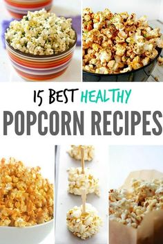 Healthy Snacks There are more creative and healthier ways than butter and salt to spice or sweeten up your favorite movie snack - popcorn! Try one of these best healthy popcorn recipes to snack on during your next movie night in. Healthy Movie Snacks, Healthy Meals For One, Good Healthy Recipes, Gourmet Recipes, Snack Recipes, Healthy Popcorn Recipes, Healthy Snacks Savory, Healthy Bedtime Snacks, Salted Popcorn Recipes