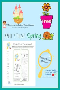 Belle's Book Corner for April 2014 with FREE interactive printable bookmark - Enchanted Homeschooling Mom