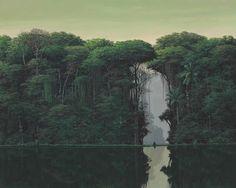 thunderstruck9:  Tomás Sánchez (Cuban, b. 1948), Meditador en la orilla, 1998. Acrylic on canvas, 48 x 60 in.