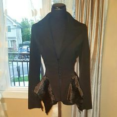 Black blazer with satin inserts Black blazer with satin inserts. Hook and eye closure in the front. Very edgy Jackets & Coats Blazers