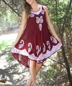 Another great find on #zulily! Rose & White Paisley Embroidered Swing Dress #zulilyfinds
