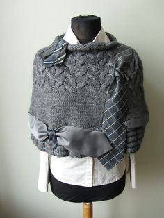 Dark Gray Sweater Poncho detailed with by GarageCoutureClothes