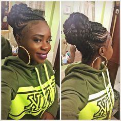 Instagram: Glamour_Grace Black Girl Braids, Braids For Black Hair, Girls Braids, Haircut Styles For Women, Short Haircut Styles, Cornrow Updo Hairstyles, Updos, Cornrows Updo, Twist Hairstyles