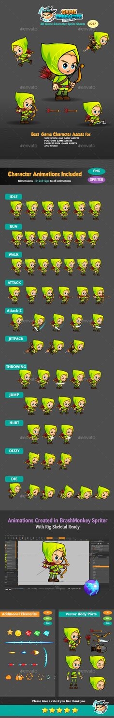 Archer 2D Game Character Sprites 237 — Vector EPS #elf #game • Available here → https://graphicriver.net/item/archer-2d-game-character-sprites-237/17116684?ref=pxcr