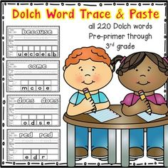 Dolch Word Trace and Paste - This set contains all 220 dolch words (pre-primer, primer, grade, grade, and grade words). This activity. 3rd Grade Words, 1st Grade Writing, 3rd Grade Reading, Grade 2, Grammar Activities, Classroom Activities, Classroom Ideas, Future Classroom, Word Wall Kindergarten