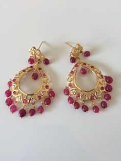 Ruby beaded barfi necklace set with Chandbali earrings(made on order ) - Deccan Pearls and Jewellery Jewelry Design Earrings, Gold Earrings Designs, Gold Jewellery Design, Necklace Designs, Beaded Earrings, Beaded Jewelry, Ruby Jewelry, Ruby Earrings, Simple Earrings