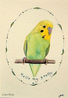 Parakeet Pen and Ink Original Australian Bird by WinterOwls Etsy