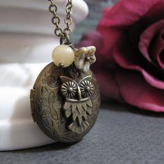 Owl Necklace Locket Antique Gold Locket Owl by StefenyStanyer, $26.00