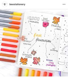 Inspiration for Autumn Bullet Journal pages. If you love bullet journaling, there are tons of amazing fall bullet journal ideas you can use on your cover pages, weekly & monthly spreads and calendar layouts.