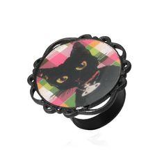 Cat Mirror Facet Woman Retro Ring