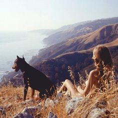 A traveling girl and her dog