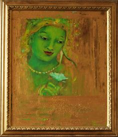 """Green Bodhicitta with Gold"" .                               mixed Media by Floor Hendriks"