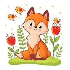 Fox Sitting on a Flower Meadow #Sitting, #Fox, #Meadow, #Flower Umění Pro Děti, Roztomilé Ilustrace, Co Nakreslit, Decoupage, Malby, Animaux, Dítě