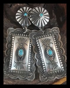 Details about  /Native American Sterling Silver Turquoise Concho Earrings by Yazzie