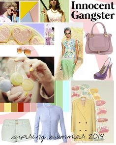 'My favourite trend as you can see because is totally pastels. But now it has an innocent vibe with an innocent touch. Imagine being a lady detective, really feminine but dangerous. This trend name is Innocent Gangster' Pastel Fashion, Fashion Colours, Love Fashion, Ladies Fashion, 2014 Fashion Trends, 2014 Trends, Spring Summer Trends, Summer 2014, Spring 2014