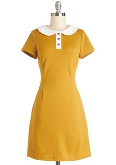 Show Me the Honey Dress - Knit, Mid-length, Yellow, White, Buttons, Pockets, Casual, Sheath / Shift, Short Sleeves, Better, Collared, Solid,...