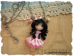 Princess doll necklace Polymer clay Pink dress