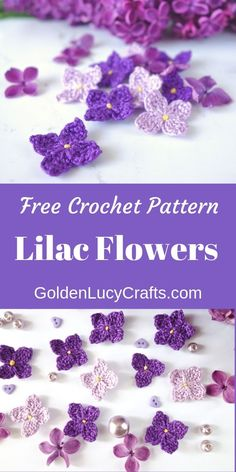 Crochet Lilac Flowers - Free Crochet Pattern I designed these. Crochet Lilac Flowers – Free Crochet Pattern I designed these small crochet li Beau Crochet, Crochet Mignon, Cute Crochet, Beautiful Crochet, Crochet Crafts, Crochet Projects, Diy Crafts, Crochet Design, Crochet Motifs