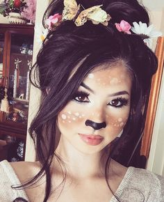 Whimsical Deer – Amazing Animal Makeup Looks You Can Easily Rock This Halloween – Photos Loading. Whimsical Deer – Amazing Animal Makeup Looks You Can Easily Rock This Halloween – Photos Cute Halloween Costumes For Teens, Halloween Fotos, Halloween Fun, Halloween Face Makeup, Deer Costume Makeup, Girl Deer Costume, Baby Deer Costume, Deer Antlers Costume, Vintage Halloween