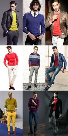 Fashion Beans: Transitional Season Essentials: Lightweight Knitwear: Men's Bold Coloured Jumper Lookbook