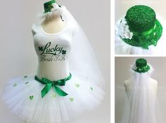 LUCKY BRIDE To BE 3pc Tutu Skirt Set, Leprechaun Hat Veil Headband and Tank Top, St Patricks Day, Adult, Womans Costume, Bachelorette Party by wingsnthings13 on Etsy https://www.etsy.com/listing/263522759/lucky-bride-to-be-3pc-tutu-skirt-set