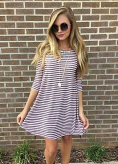 Stripey Swing dress for fall... ( in navy though)