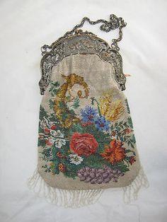 Antique Beaded Purse Art Nouveau Floral Gorgeous | eBay