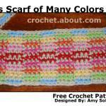 100 free #crochet scarf patterns Amy's Scarf of Many Colors -