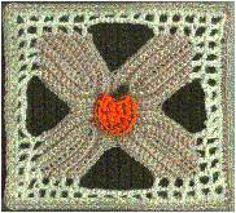 25 Terrific Crochet Patterns for Autumn: Leaf Square with Pumpkin Applique