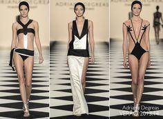 Preto e Branco no desfile de moda praia incrível da Adriana Degreas - Verão 2014 SPFW.