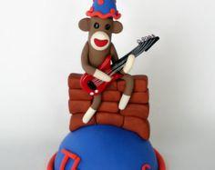 Guitar Playing Sock Monkey Cake Topper w/ Name #EdibleSockMonkeys