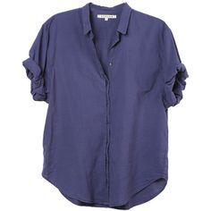 Xirena Channing Shore Shirt (2,860 MXN) ❤ liked on Polyvore featuring tops, shirt top, blue top and blue shirt