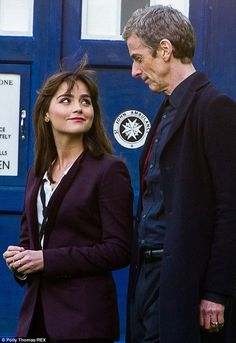 New partnership: The stunning actress and the new Time Lord were pictured on set at Bute Park, Cardiff as they shot scenes in Wales
