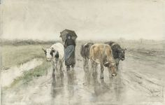 Week 39: A Herdess with Cows on a Country Road in the Rain, Anton Mauve, 1848 - 1888