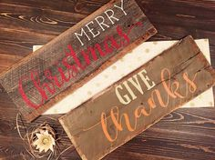 Two-Sided Reclaimed Barnwood Sign Merry by ShopSimplyInspired