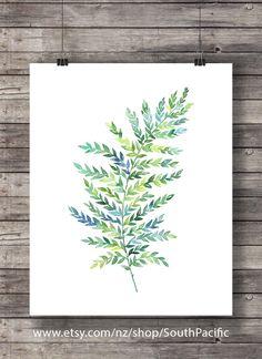 Printable art   Green watercolor fern print   hand painted fern leaf nature print   watercolor leaf botanical illustration   download