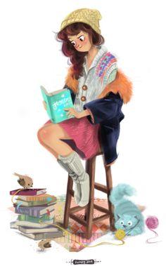 la niña estudiando, mientras mirrucho juega con ovillos de lana