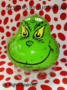 The GRINCH Hand Painted GRINCHMAS DECORATION by DesignsbySugarbear, $49.99 ON ETSY Can also Be Set-UP as a Birdhouse too!