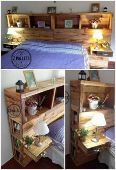 20 Plans for Recycling Old Wooden Pallets. Diy Wooden Headboard With Lights Wooden Pallet Beds, Diy Pallet Bed, Diy Pallet Projects, Wooden Diy, Pallet Furniture, Pallet Ideas, Pallet Benches, Pallet Tables, Pallet Bar