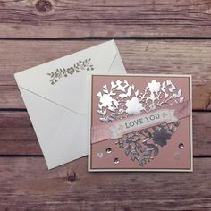 stampcandy.net, Stampin' Up!, Love You card, Bloomin' Love Bundle, Bloomin Love stamp set, Bloomin' Heart Thinlits Dies, Valentine, silver foil, envelope, Envelope Punch Board