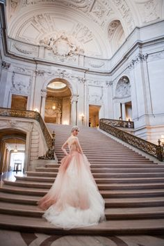 Glam pink ombre ballgown for a civil ceremony elopement at San Francisco's city hall! | Vera Wang White Wedding from Deann B Photography | PreOwned Wedding Dresses