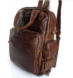 "ModernManBags.com - ""Boston"" Men's Vintage Leather Convertible Backpack"