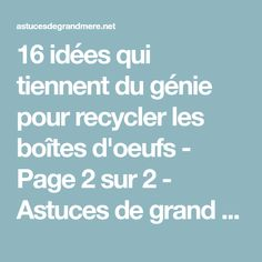 16 idées qui tiennent du génie pour recycler les boîtes d'oeufs - Page 2 sur 2 - Astuces de grand mère How To Plan, Cleaning, Tips And Tricks, Diy Ideas For Home, Practical Life, Storage, Paper