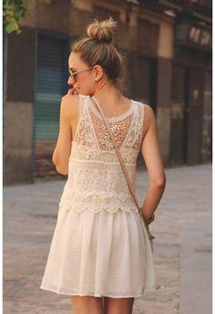 Off-white Floral Crochet Chiffon Dress
