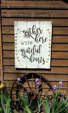 This gorgeous multi-board style sign with an inspirational quote and hand painted greenery that can be customized to your colors. Gather Here With Grateful Hearts. What a Great Reminder! This would look great in a dining room or family room or even an entry way!  30x36 See other listings for smaller sizes. Ships 2 weeks from date of order unless stated in Shop Announcements.  Shown in white/espresso font.  #flawedtofabulous #flawedtofabulousonetsy