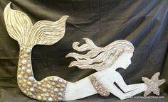 Large Hand Made Mermaid Wall Art with Shell Mosaic, starfish, seashells, mosaic