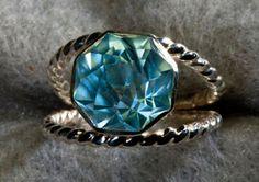 Sky Blue Topaz Rose Petal Color Engagement Ring by janeysjewels, $295.00
